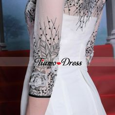 Tiamo A-line Jewel Neck 3/4-Length Sleeves White Chiffon Homecoming Dresses With Flowers+Black Sequins