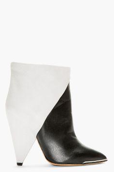 Iro Black And Grey Leather Cone Heel Ankle Boots FOLLOW US on https://www.facebook.com/LikeBlaaaBlaaa