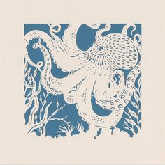 Octopus papercut. 'Small Common Octopus'  by storiesinpapershop