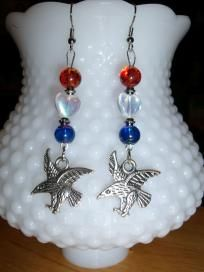 Eagle earrings dangle Red/white/blue **SHIPS FREE**