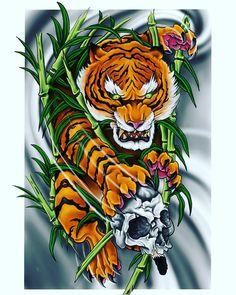 tattoos for guys Tiger Design, Tiger Tattoo Design, Demon Tattoo, Samurai Tattoo, Samurai Art, Tattoo Ink, Arm Tattoo, Hand Tattoos, Sleeve Tattoos