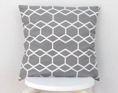 Gray Hexagon line pillow cover, Gray line geometric pillow case 02