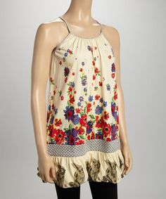 Another great find on #zulily! Cream Floral Halter Tunic by Funky People #zulilyfinds