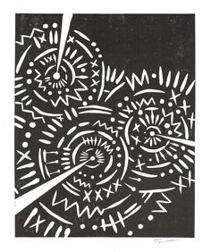 SALE Abstract Circular Tribal Patterns Linocut Art by printwork, $25.00