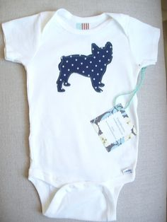 French Bulldog Onesie  Navy Blue Puppy / Dog by FreshBlooms, $12.00