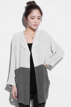 Asymmetric Color Block Shirt