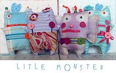 Meet plushy toys LITTLE MONSTER Fitcho, Flory, Angela and Miuccia handmade by Dominika