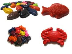 Fish and Crab Crayons set of 40  party favors by KagesKrayons, $30.00