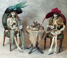 Miniature dead ladies enjoying tea by Patricia Paul