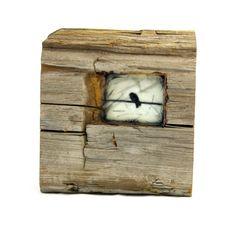 Hiding places - The small blackbird - original encaustic mixed media carved in reclaimed barn wood.  ingridArtStudio on Etsy