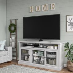 Darby Home Co Alpharetta TV Stand for TVs up to with Fireplace Included Colo. - Darby Home Co Alpharetta TV Stand for TVs up to with Fireplace Included Color: Dove Gray, Fir - Living Room Tv, Home And Living, Tv Stand Ideas For Living Room, Living Room Decor Above Tv, Living Room Without Fireplace, Modern Living, Apartment Living, Decorating Small Living Room, How To Decorate Living Room