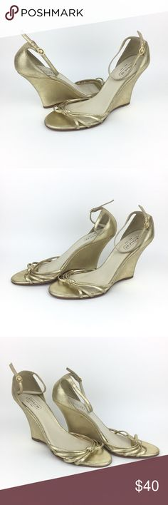 """COACH Made in Italy COACH Gold Strappy Heels Made in Italy Size: 11 Heel height: 4"""" Gently used Next Day Shipping Coach Shoes Heels"""