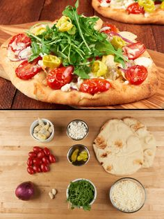 """Does """"Pizza Night"""" at your house usually mean a call to the nearest greasy joint and some awkward face-time with the delivery guy? We can do you one better with these personal pizzas on delightfully chewy naan that can be whipped up in a flash. We start with cherry tomatoes, juicy artichoke hearts, creamy mozzarella, and tangy goat cheese. Things get zesty with perfectly spiced pepperoncini and arugula salad on top for a simple, satisfying weeknight meal - no tip required."""