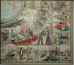 George Glazer Gallery, New York City. Antique prints, maps and globes: Around the World in 80 Days (Le Tour du Monde en 80 Jours) Game Board after the novel by Jules Verne, Societe des Jeux et Jouets Francais, Paris: c.
