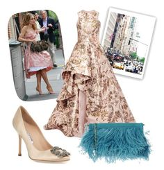 """Carrie Bradshaw inspired"" by iulianamm on Polyvore featuring moda, Monique Lhuillier, Manolo Blahnik i A di Alcantara"