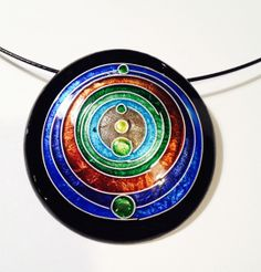 new piece! vitreous glass enamel with silver cloisonné over silver leaf - inspired by the stripes of a mushroom
