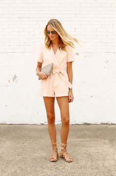 finders keepers pink playsuitand gladiator lace-up sandals #streetstyle