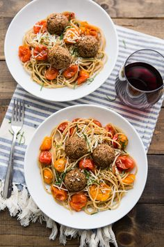 Lentil Meatballs with Burst Tomato Pasta | @naturallyella | Vegetarian-friendly, good source of fiber and protein, perfect for meatless mondays
