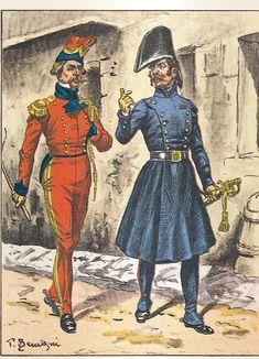 French; Imperial Guard, 2nd Regt Chevau-Legers Lanciers, Capitaine Adjudant- Major en petite tenue & Officier en redingote, 1811
