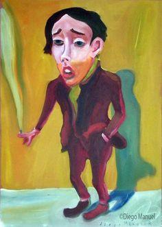 """""""Cantando bajito 2 """", acrílico sobre tela , 41x 33 cm., 2000"""
