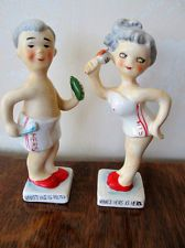 HIS And HERS Salt and Pepper Shakers; Vintage 1930s; Lady & Man Bath Towels EXC+