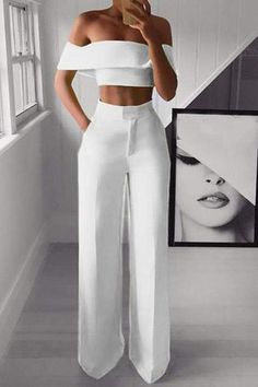 Sexy Bare Back Sloping Shoulder Sleeveless Pure Colour Suit – Owily Dressy Outfits, Chic Outfits, Sexy Outfits, Fashion Outfits, Womens Fashion, White Outfits For Women, All White Outfit, Jumpsuit Dressy, Jumpsuit Outfit