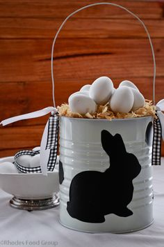 Easter egg hunt basket with bunny silhouette (could also be done with a coffee can)