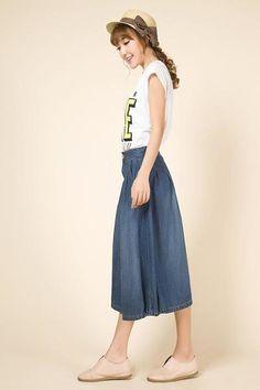 Waterfall Blue Long Denim Skirt from PIXYLEG by DaWanda.com