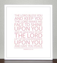Baptism Gift - Bible Verse - Numbers 6 ( Light Pink ) - 8x10 Print. $18.00, via Etsy.