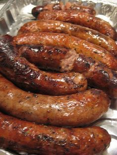 Slow cooker sausages in beer.Bratwurst sausages with beer and garlic cooked in slow cooker.Delicious!!!!