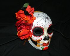 Day of the Dead Mask Dia de Los Muertos Spider Web and Murder of Crows on Etsy, Sold