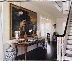 Blue and White urns in the entry hall Home of James & Whitney Fairchild,  House &  Garden Magazine, June 2004.