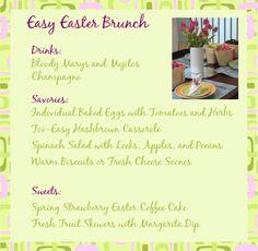 Great Easter brunch recipes, including a wonderful Easter brunch menu, ideas for planning Easter brunch, and more.