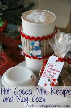 Easy Hot Cocoa Mix Recipe and a 5 minute Mug Cozy to give as a gift! Recipe and Instructions on PocketChangeGourmet.com