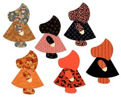 Cute as can be easy to sew die-cut Sunbonnet Sue applique shapes with backgrounds. Finished applique size of Sunbonnet Sue figure approx. 6 x 8-1/2. You get the
