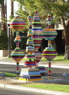 colorful topiaries by Christie Beniston, colored PVC and ceramic