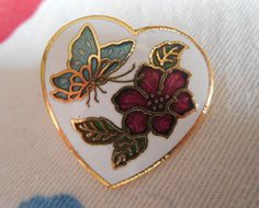 Small Cloisonne Pin Butterfly Floral by TillieLuvsTreasures