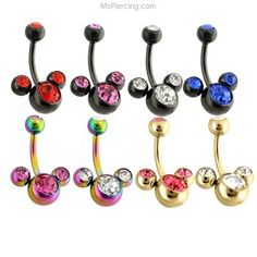 Plated Navel Rings with Triple Gem #mspiercing #piercings