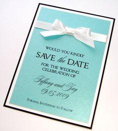 Wedding, White, Blue, Invitations, Black, The, Tiffany, Save