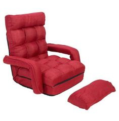 JAXPETY Folding Lazy Sofa Floor Chair Sofa Lounger Bed with Armrests and a Pillow Red #CuteGiftIdeas #Gift #LazySofa