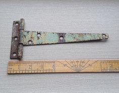Vintage Shabby Chippy Green Strap Hinge  Rusty Crusty Door