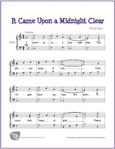 It Came Upon a Midnight Clear | Free Easy/Intermediate Piano Sheet Music (Digital Print) - Visit MakingMusicFun.net for more free and premium sheet music, music lesson plans, and great composer resources.