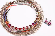 Bright Spots Manhattan Choker paired with Opening Day 8-Row Choker, Bold Colors Long Necklace and In The Mood Cluster Drop Earrings