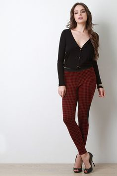Houndstooth Taper Leggings Pants