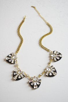 Plated Crystals Statement Necklace