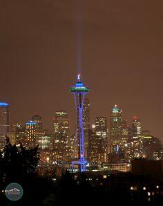 Let's Go Seahawks!            ..........Space Needle celebrating Seattle Seahawks