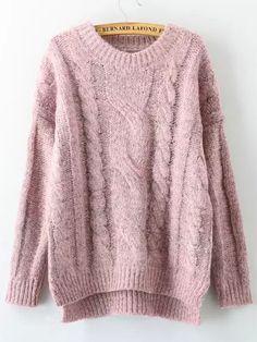 Pink Cabel Knit Dip Hem Sweater 18.54