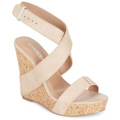 Charles by Charles David Arlington Cork Wedges ($35) ❤ liked on Polyvore featuring shoes, high heel shoes, high heeled footwear, black shoes, open toe wedge shoes and black high heel shoes