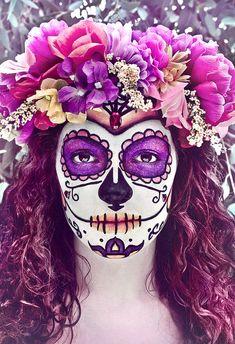 beautiful, day of the dead, dia de los muertos, halloween, pretty, purple flowers, sugar skull