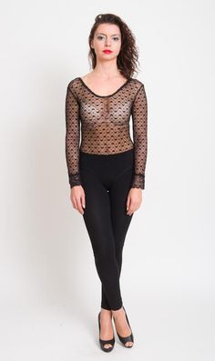 1980s Black Lace Bodysuit  Vintage 1990s Sheer Fitted by mijumaju, $65.00